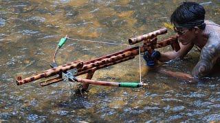 How To Make Beautiful & Powerful Bamboo Sniper Crossbowfishing   Bamboo Sniper Crossbow VS Huge Fish