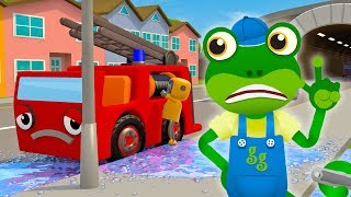 5 Little Fire Trucks Song | Nursery Rhymes & Kids Songs | Gecko's Garage | Truck Songs For Children