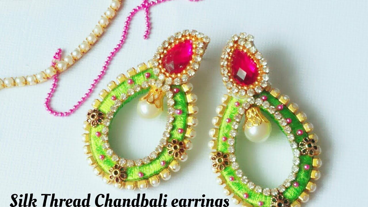 silk thread chandbali green combination earrings