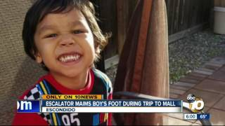 Escalator maims boy's foot during trip to mall
