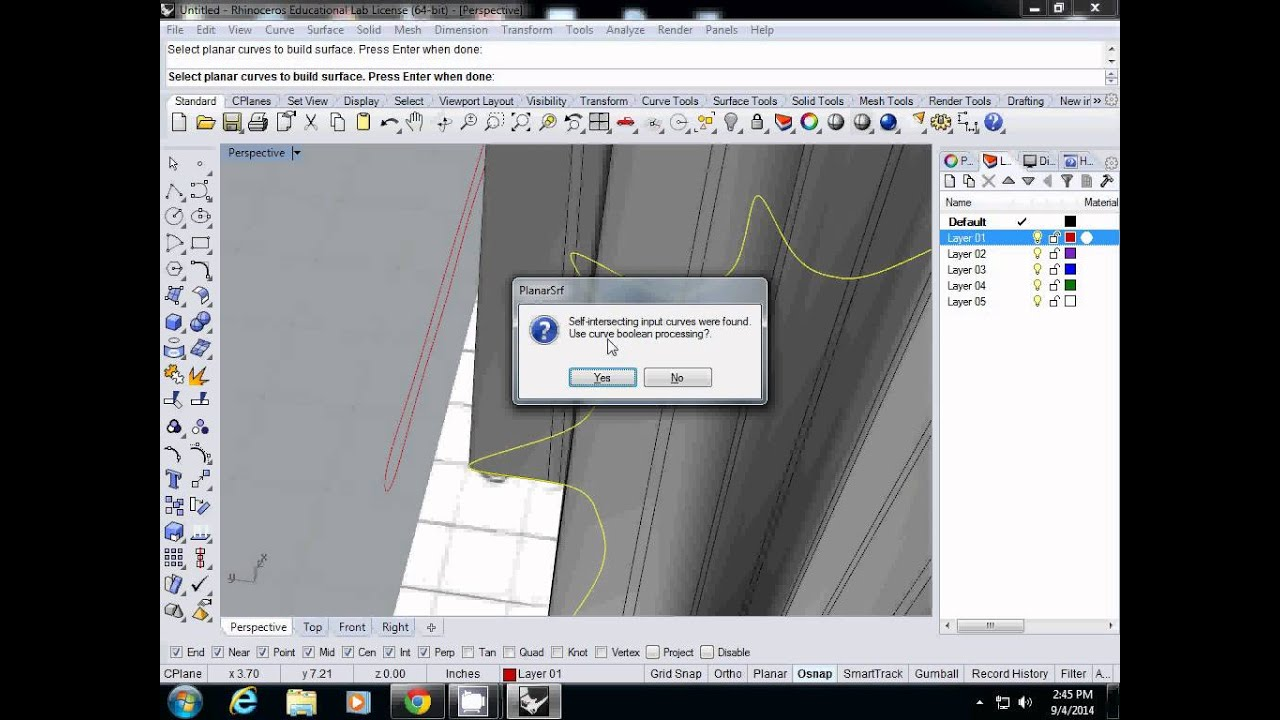 Rhino 3D Tutorial: Joining two neighboring surfaces