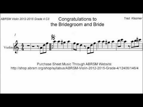ABRSM Violin 2012-2015 Grade 4 C:3 C3 Klezmer Congratulations Bridegroom Bride Sheet Music