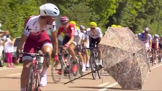 Floating umbrella nearly takes out Peloton at Tour de France
