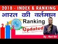 India's ranking in different indexes 2018 (Updated & Latest)-For All Competitive Exams
