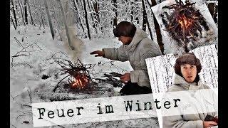 Feuer machen im Winter ! / richtige Vorbereitung / Survival Training in der Wildnis