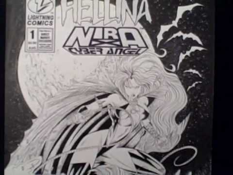 Hellina / Nira X Cyber Angel #1 -- John Cleary original comic book cover art!