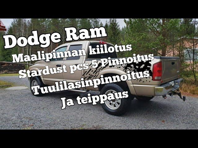 Dodge Ram3500 maalipinnan kiilotus ja stardust pcs 5 pinnoitus. perälaudan teippaus.