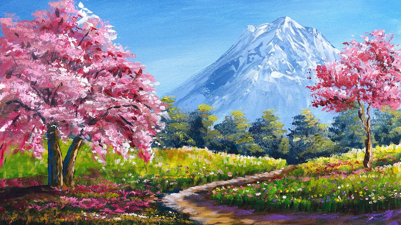 Pink Flowering Tree in Spring  |  Acrylic Landscape Painting in Time-lapse | Art Candy Nepal