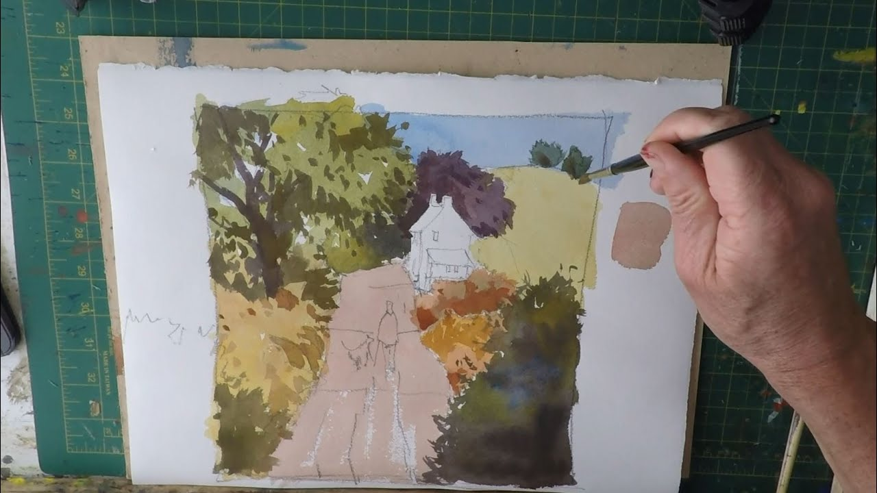 how to paint a landscape using the 3 primary colours youtube