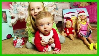 The Night Before Christmas Baby Santa Visit W/ Barbie & American Girl Bitty Baby Doll