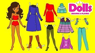 PAPER DOLLS DRAWING WINTER CLOTHES & PLAYING WITH DOLLS DIY FOR GIRLS