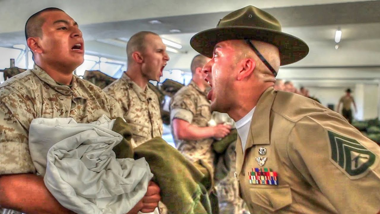 Marine Corps Boot Camp – Drill Instructors From Hell - YouTube