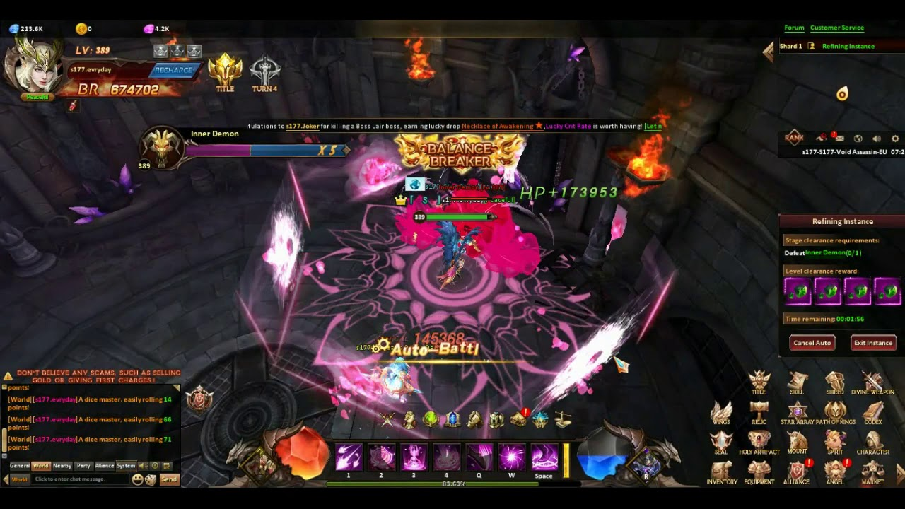 League of Angels Heaven's Fury kill uoniqs Lnner Demon