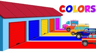 Colors for Children   Car Garage   Learn Cars and Trucks
