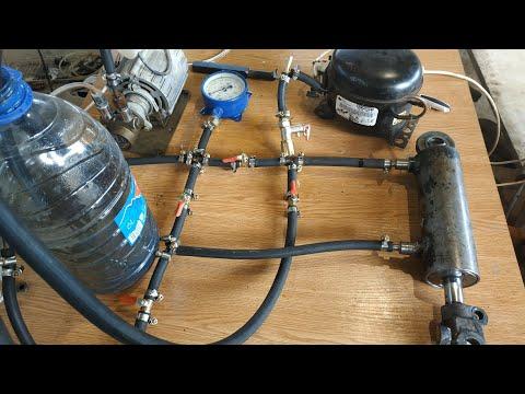 Проверим как качает масло компрессор от холодильника и насос от кофе машины. Самодельная гидравлика