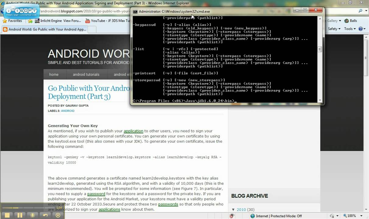 How to generate a certificate for andriod release tutorial youtube xflitez Choice Image