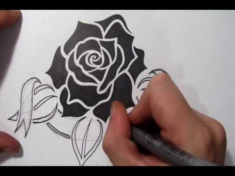 Drawing A Memorial Tattoo Design Idea Tribal Rose And Banner Youtube
