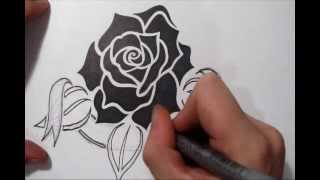 Drawing a Memorial Tattoo Design Idea - Tribal Rose and Banner