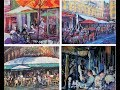 How to paint 4 small French Cafe scenes using acrylics, fast & loose.