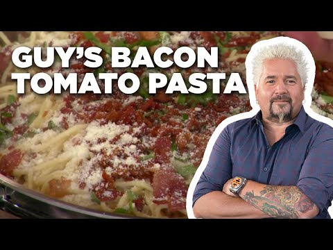 Guy Fieri Makes Bacon Tomato Pasta | Food Network