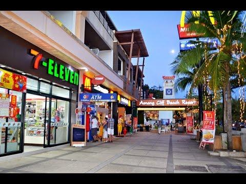 Walking at Beach Road Ao Nang, Krabi Thailand.