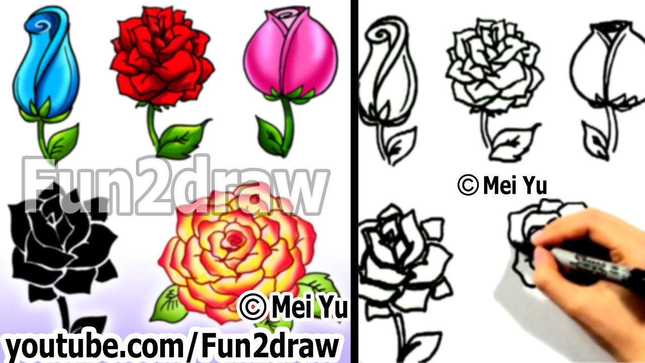 How to draw a rose 5 ways in 4 min art lessons fun2draw youtube reviewsmspy