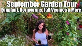 September Garden Tour - Eggṗlant Harvest, Tomato Hornworms (Ugh!), Making Space for Fall Veggies 🍆🐛🍁