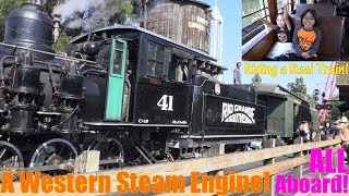 Kids Riding a Real STEAM ENGINE TRAIN! Riding a Real Horse Carriage and Riding a Mine Train