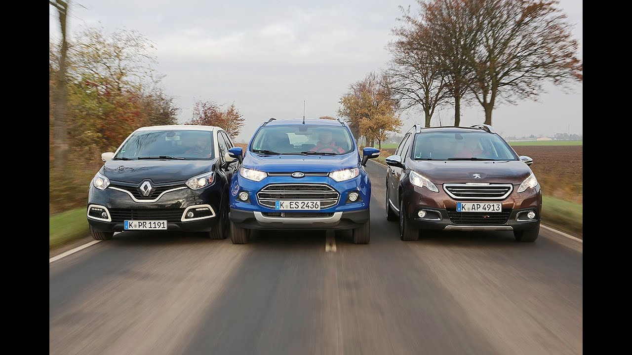 renault captur vs. peugeot 2008 vs. ford ecosport - youtube
