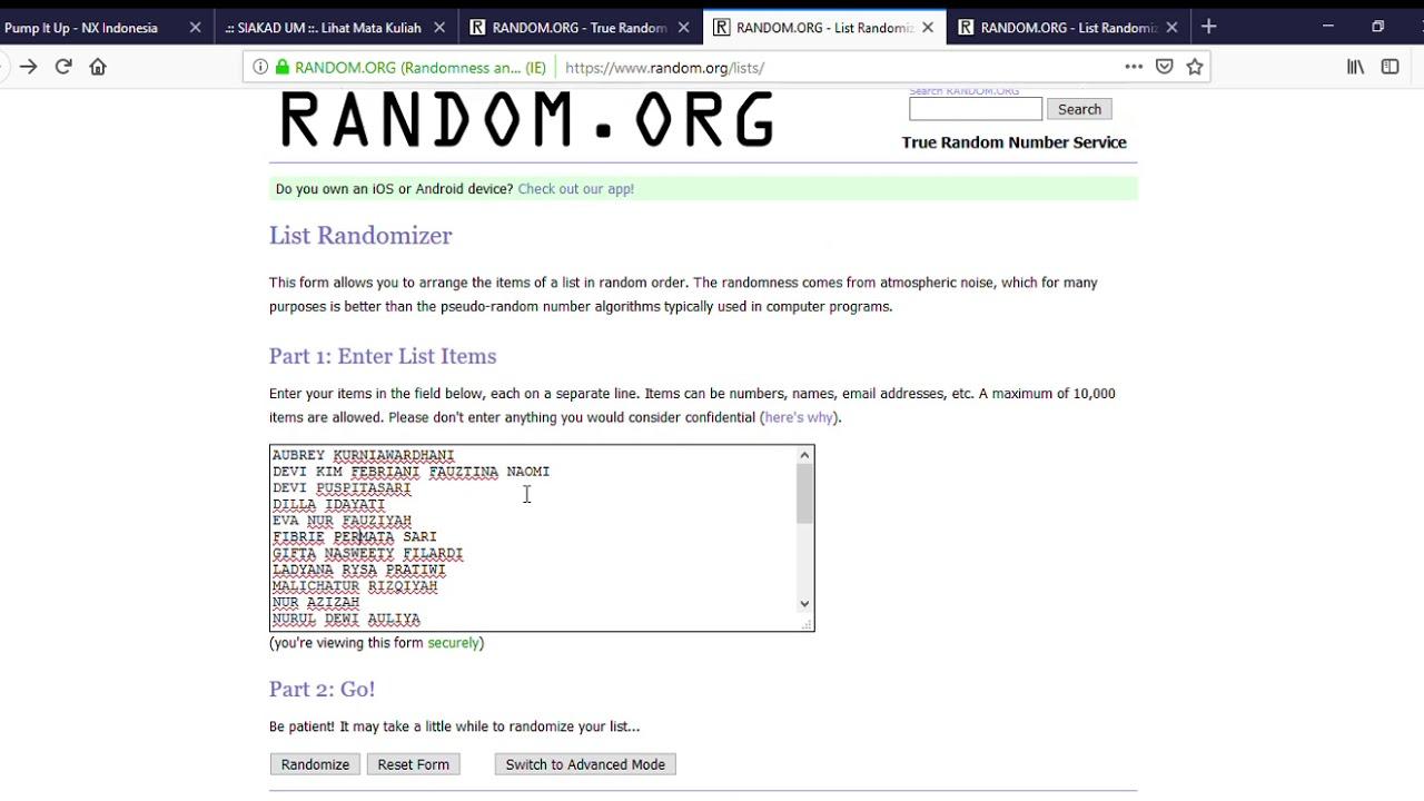 RANDOM ORG List Randomizer Film Studies Group