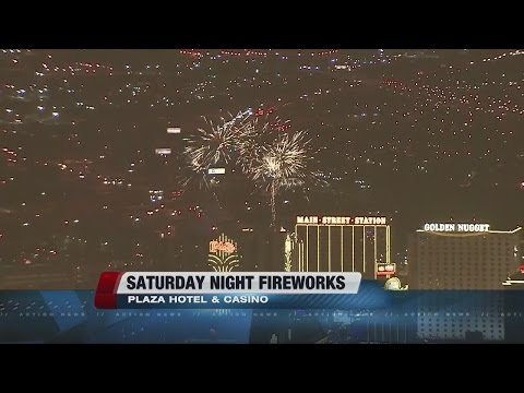Plaza hotel-casino fireworks over downtown Las Vegas