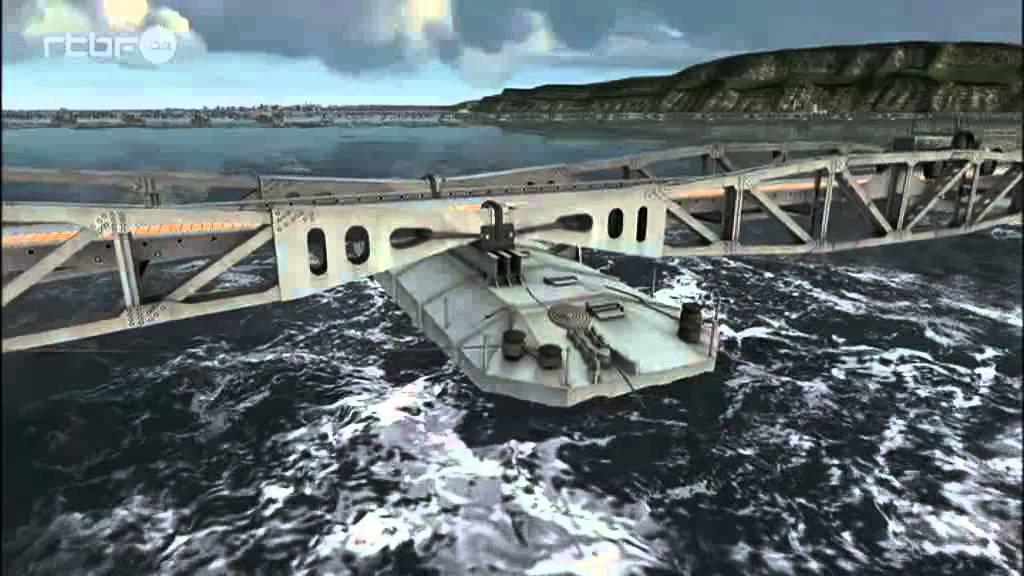 Reconstitution en images de synth se du port d 39 arromanches en 1944 youtube - Port artificiel d arromanches construction ...