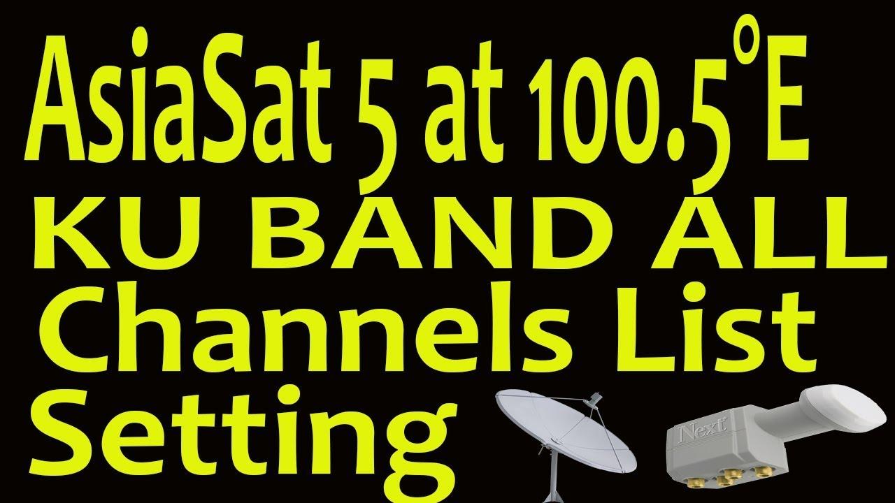 AsiaSat 5 at 100 5°E KU Band Setting and Channels LIst