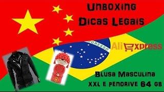 Unboxing 5 #ALIEXPRESS #BLUSA MASCULINA PRETA XXL E PENDRIVE 64 GB