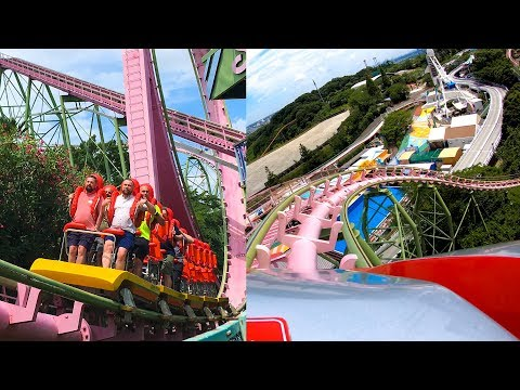 Riding Standing & Loop Roller Coaster! BOTH SIDES! Yomiuriland Japan Front Seat POV