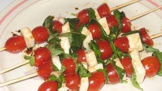 Caprese Salad And Chicken Cordon Bleu Kabobs