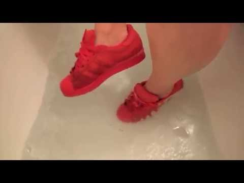 Her new Adidas Superstar soaked