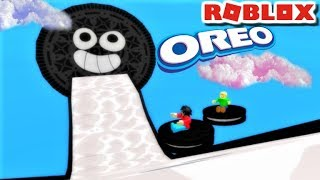 SLIDING DOWN 7,777,777 ft INTO A GIANT OREO!! ft. Baldi & Playtime | Roblox: Candy Land Obby