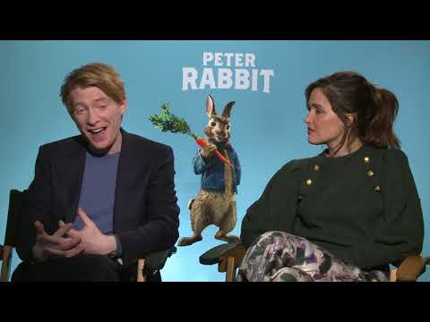 Rose Byrne Domhnall Gleeson full Interview for Peter Rabbit