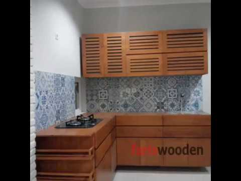 Kitchen set kayu jati belanda wa 0812 9000 8038 youtube for Rak kitchen set