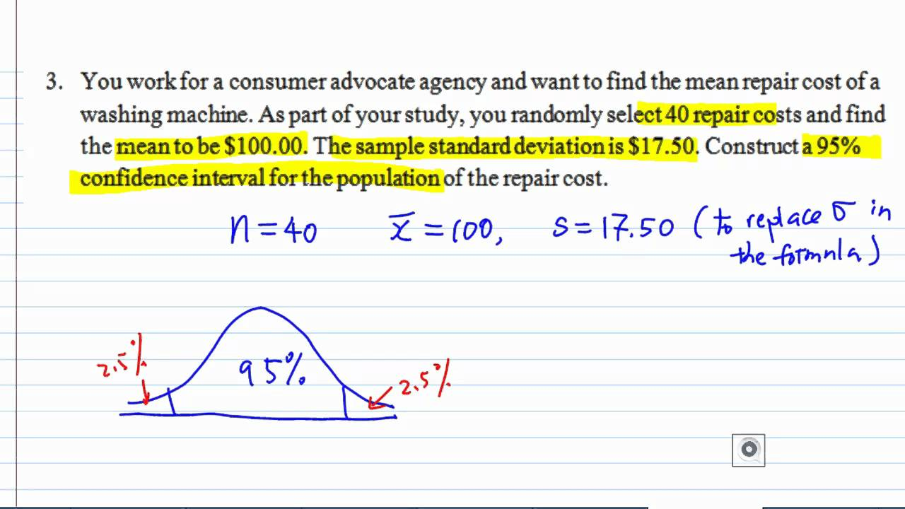 Confidence interval of population mean example14 youtube confidence interval of population mean example14 ccuart Images
