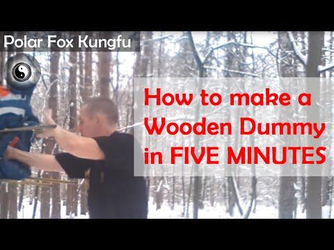 How to make a Wooden Dummy  in FIVE MINUTES! (mook yan jong, mu ren zhuang, wooden man, mook jong)
