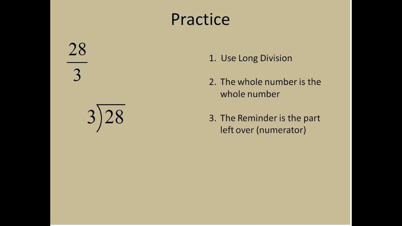 Improper Fractions to Mixed Numbers (Simplifying Math) - YouTube