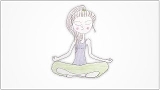 how to draw a yoga poses - Sukhasana