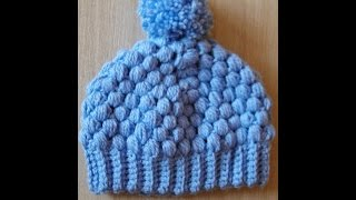 👒 Damska bąbelkowa czapka na szydełku - Hat for woman crochet, puff stich