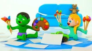 SUPERHERO BABIES LOVE COLORS ❤ Spiderman & Frozen Elsa Play Doh Cartoons For Kids