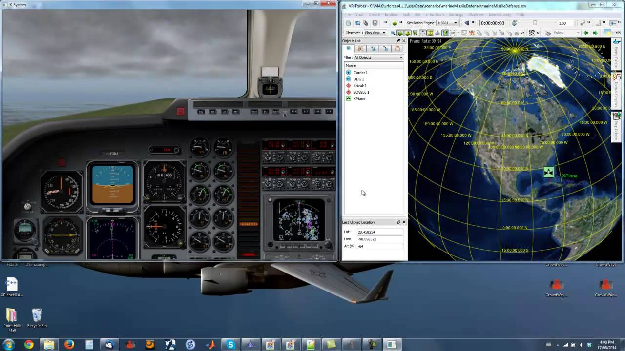 DSim API Demo With XPlane And VR Forces
