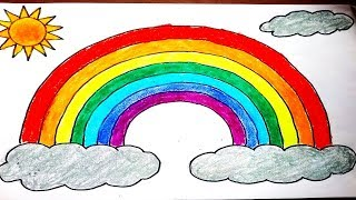 How to draw Rainbow easy for kids.  DIY How to make simple rainbow drawing