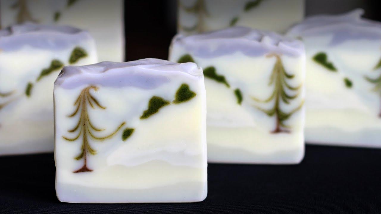 Homemade Soap - Winter Wonderland Landscape Feather Swirl - Great ...