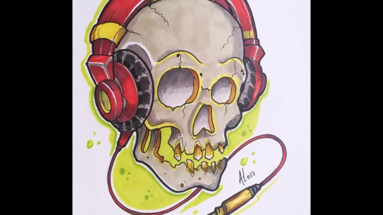New School Skull Dj Tattoo Design Timelapse Youtube
